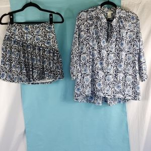 H&M matching floral blouse and skater skirt
